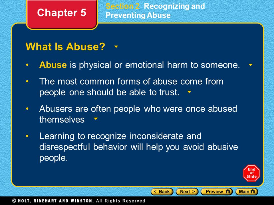 Section 2 Recognizing and Preventing Abuse What Is Abuse.
