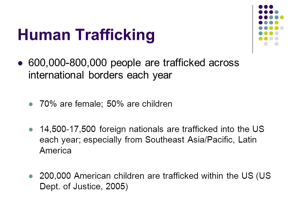 Human Trafficking 600, ,000 people are trafficked across international borders each year 70% are female; 50% are children 14,500-17,500 foreign nationals are trafficked into the US each year; especially from Southeast Asia/Pacific, Latin America 200,000 American children are trafficked within the US (US Dept.