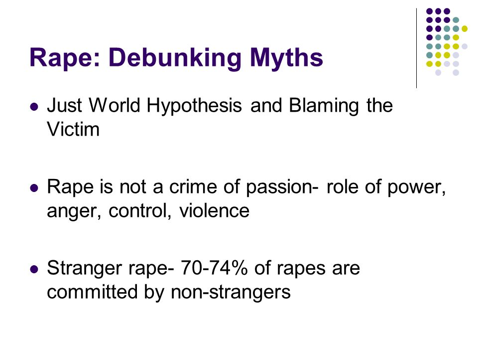 Rape: Debunking Myths Just World Hypothesis and Blaming the Victim Rape is not a crime of passion- role of power, anger, control, violence Stranger rape % of rapes are committed by non-strangers