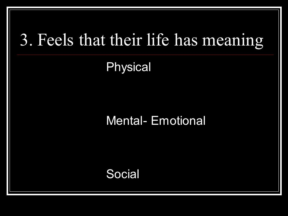 3. Feels that their life has meaning Physical Mental- Emotional Social