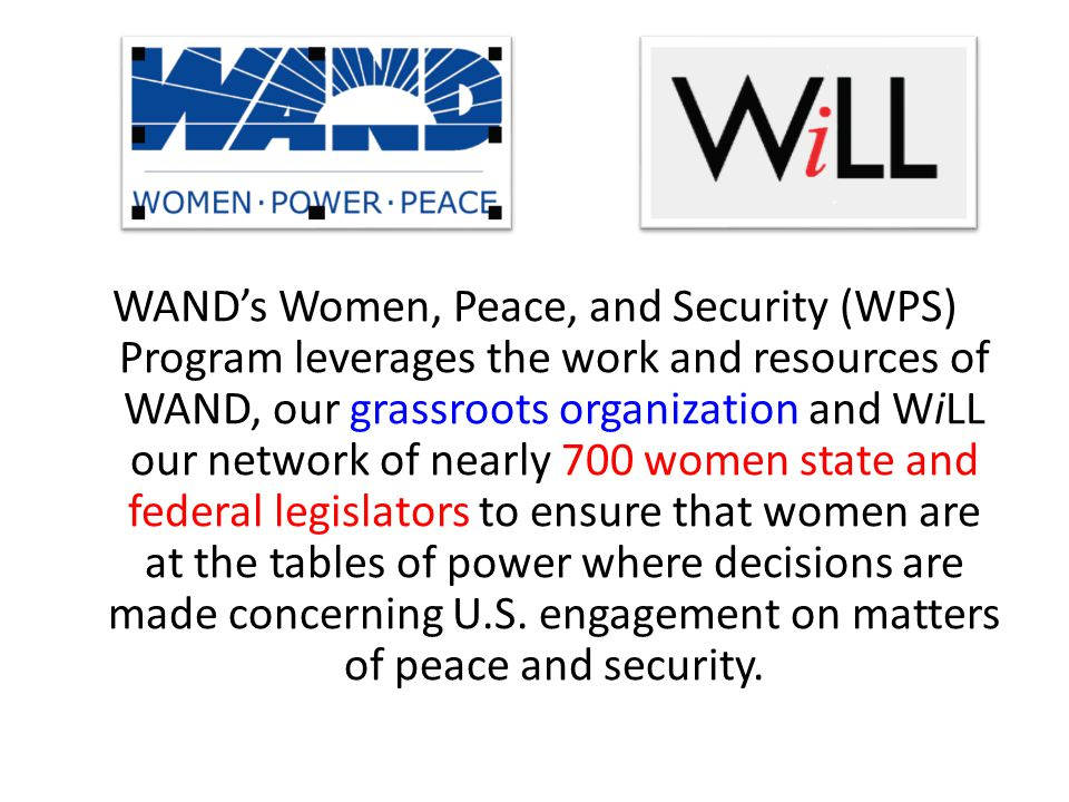 WAND's Women, Peace, and Security (WPS) Program leverages the work and resources of WAND, our grassroots organization and WiLL our network of nearly 700 women state and federal legislators to ensure that women are at the tables of power where decisions are made concerning U.S.