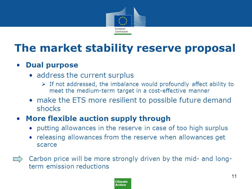 Climate Action The market stability reserve proposal Dual purpose address the current surplus  If not addressed, the imbalance would profoundly affect ability to meet the medium-term target in a cost-effective manner make the ETS more resilient to possible future demand shocks More flexible auction supply through putting allowances in the reserve in case of too high surplus releasing allowances from the reserve when allowances get scarce Carbon price will be more strongly driven by the mid- and long- term emission reductions 11