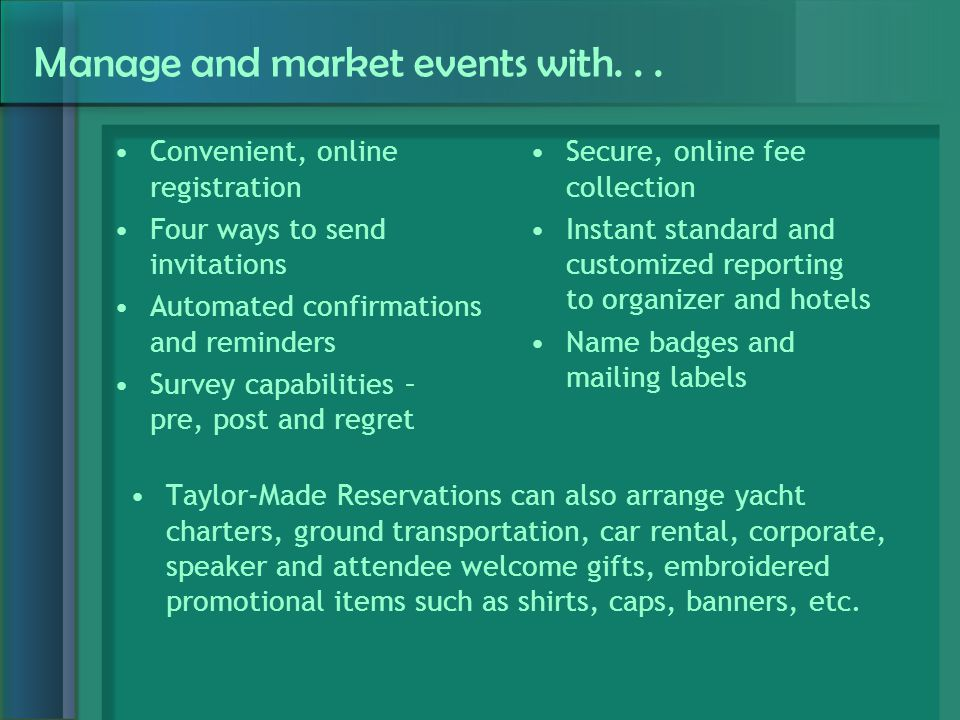 Manage and market events with...