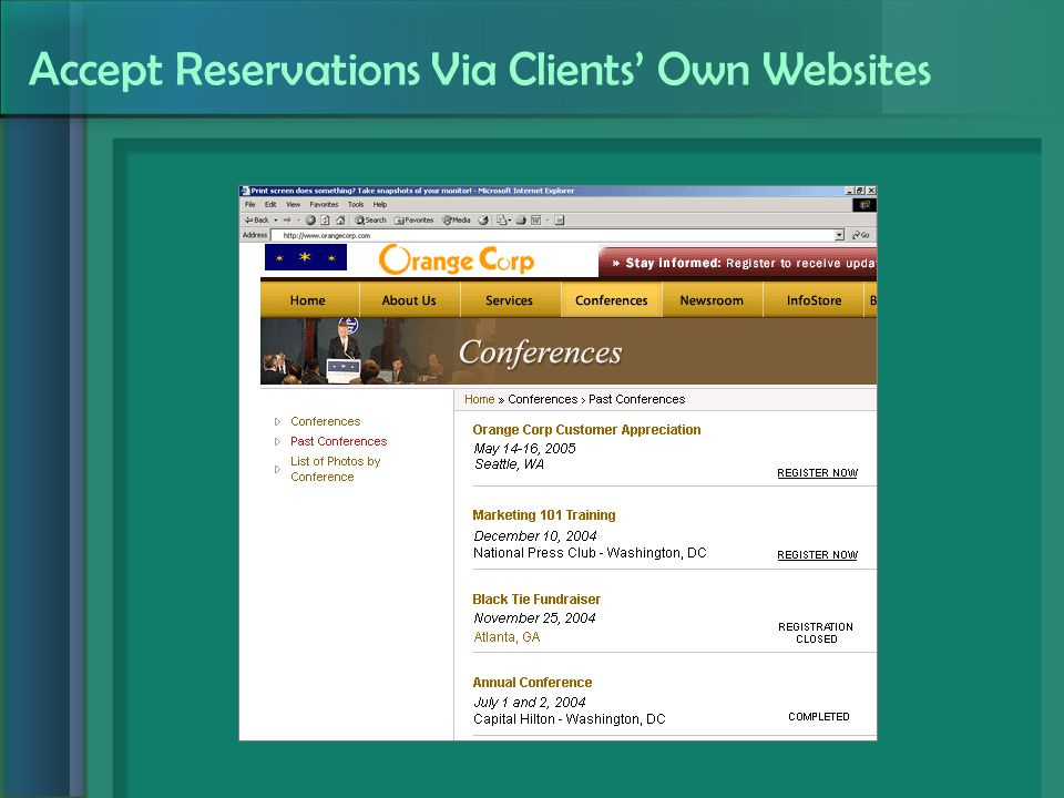 Accept Reservations Via Clients' Own Websites