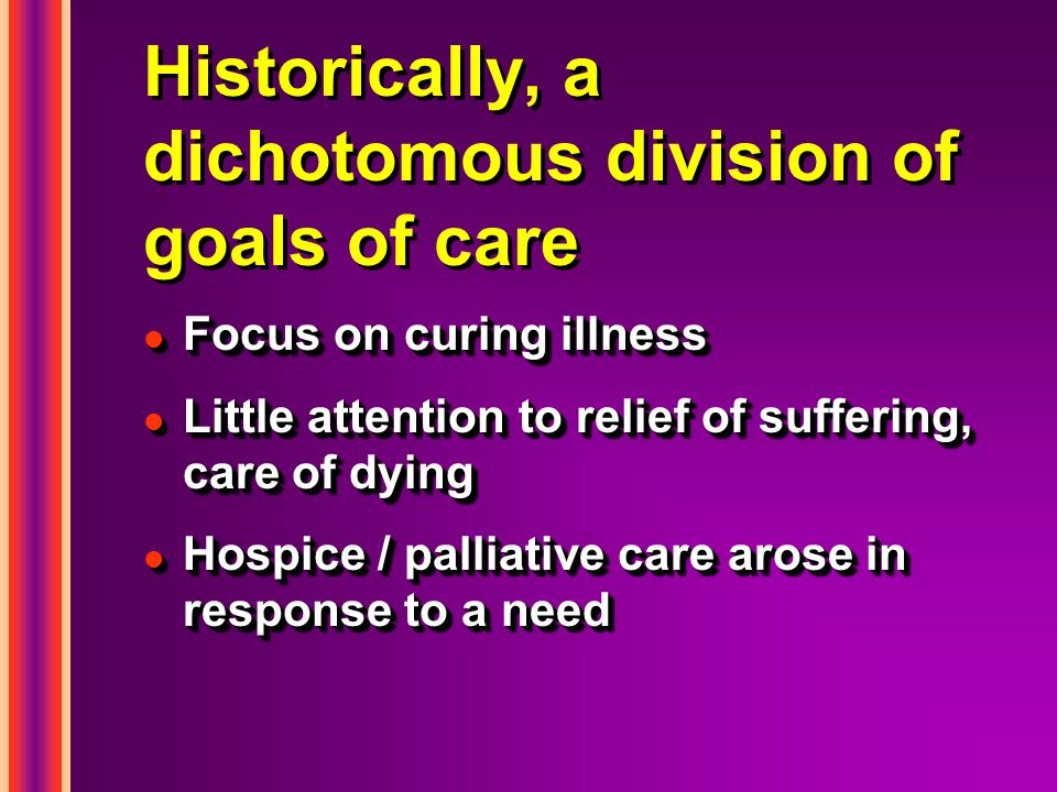 Historically, a dichotomous division of goals of care l Focus on curing illness l Little attention to relief of suffering, care of dying l Hospice / palliative care arose in response to a need l Focus on curing illness l Little attention to relief of suffering, care of dying l Hospice / palliative care arose in response to a need