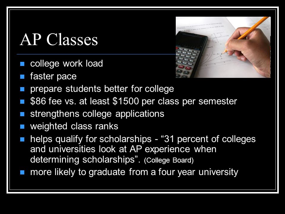 AP Classes college work load faster pace prepare students better for college $86 fee vs.