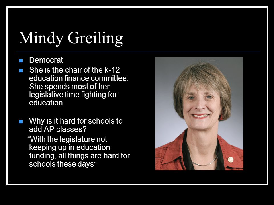 Mindy Greiling Democrat She is the chair of the k-12 education finance committee.