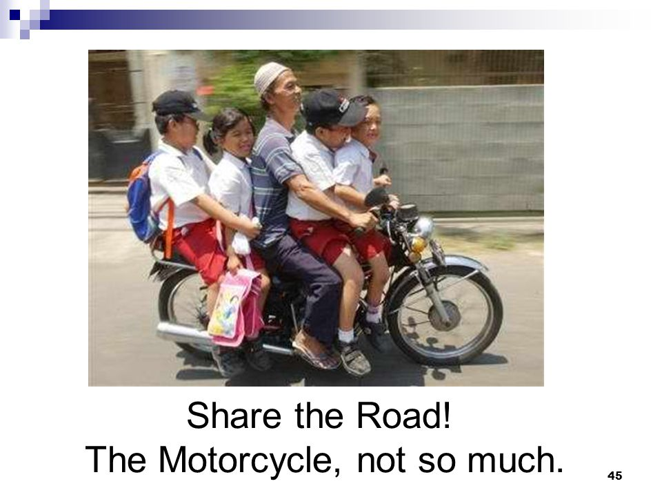 Share the Road! The Motorcycle, not so much. 45