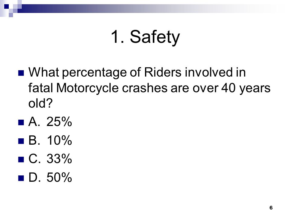6 1. Safety What percentage of Riders involved in fatal Motorcycle crashes are over 40 years old.