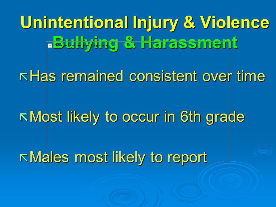 Unintentional Injury & Violence Bullying & Harassment ã Has remained consistent over time ã Most likely to occur in 6th grade ã Males most likely to report