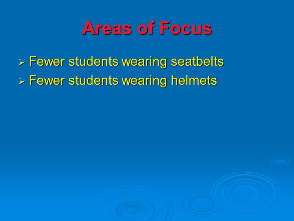 Areas of Focus  Fewer students wearing seatbelts  Fewer students wearing helmets