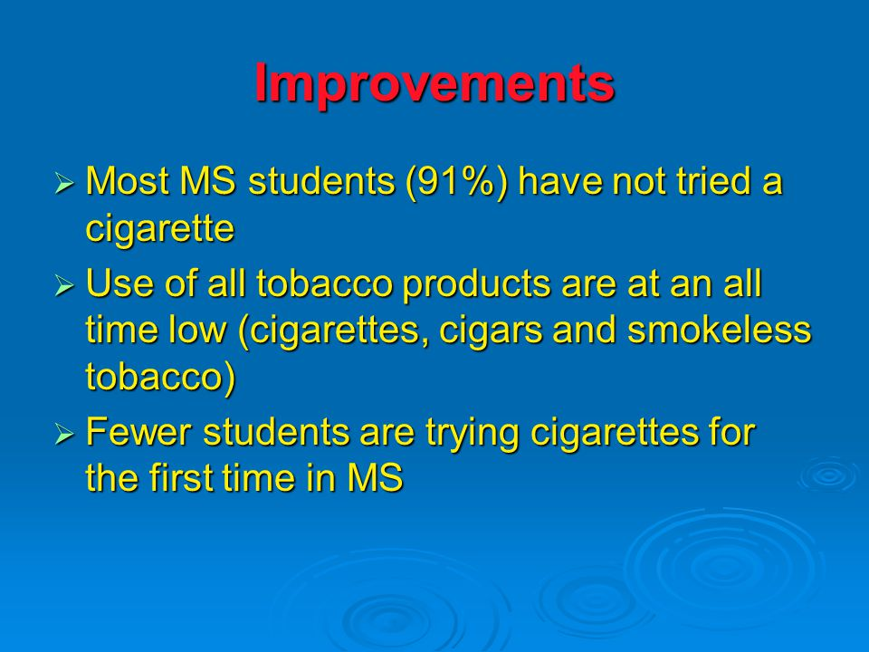 Improvements  Most MS students (91%) have not tried a cigarette  Use of all tobacco products are at an all time low (cigarettes, cigars and smokeless tobacco)  Fewer students are trying cigarettes for the first time in MS