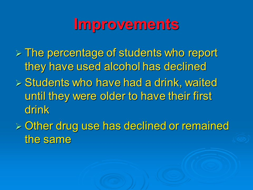 Improvements  The percentage of students who report they have used alcohol has declined  Students who have had a drink, waited until they were older to have their first drink  Other drug use has declined or remained the same