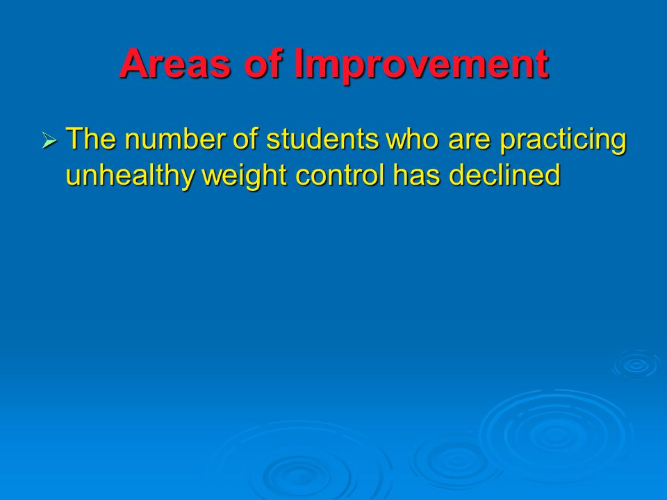 Areas of Improvement  The number of students who are practicing unhealthy weight control has declined