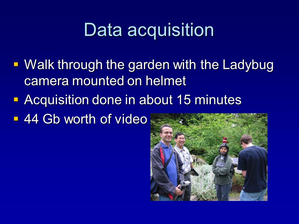 Data acquisition  Walk through the garden with the Ladybug camera mounted on helmet  Acquisition done in about 15 minutes  44 Gb worth of video and audio data