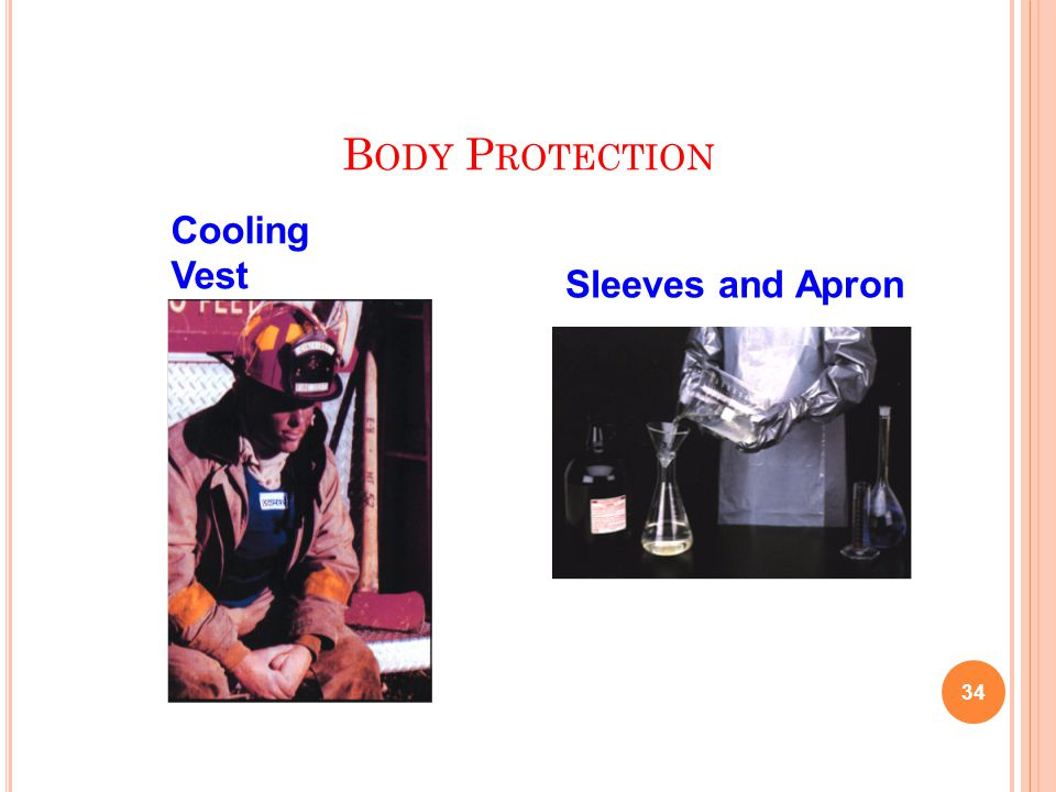 B ODY P ROTECTION 34 Cooling Vest Sleeves and Apron
