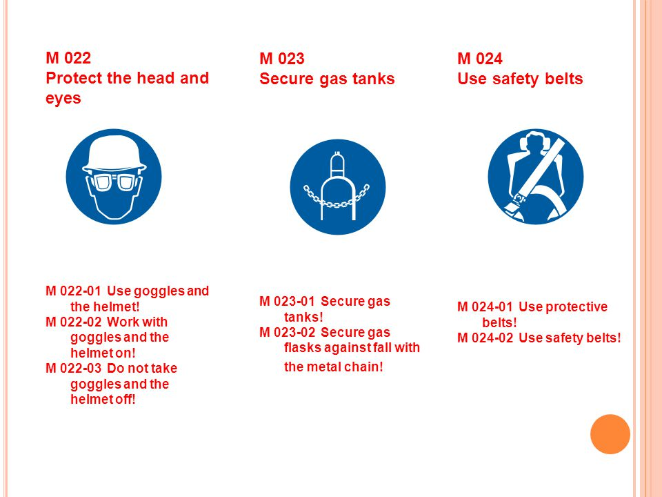 M 024 Use safety belts M 023 Secure gas tanks M 022 Protect the head and eyes M Use protective belts.