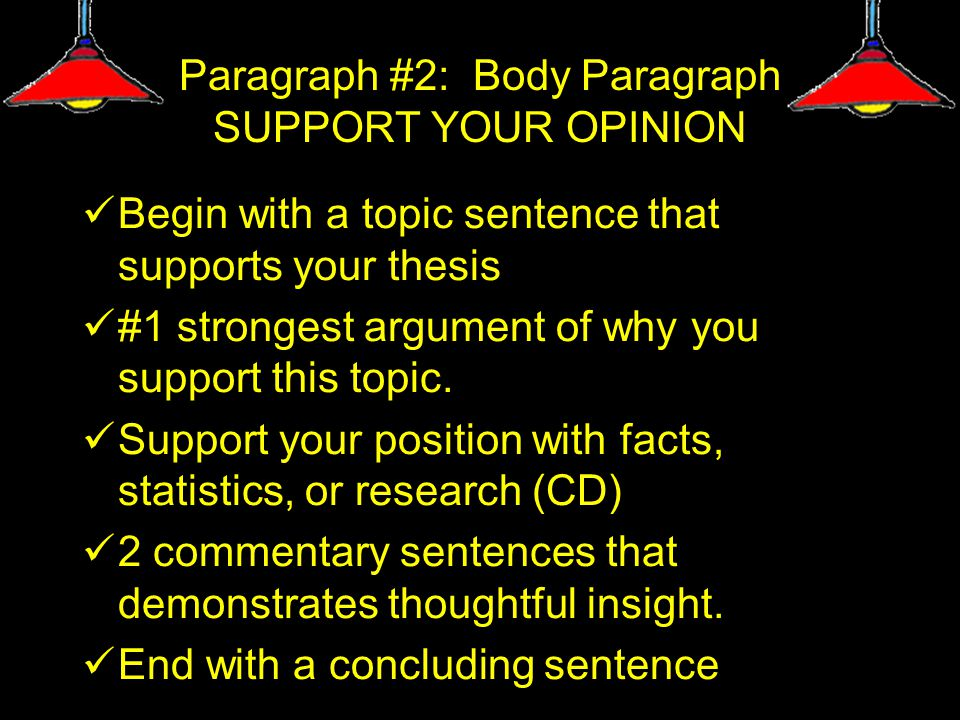 Paragraph #2: Body Paragraph SUPPORT YOUR OPINION Begin with a topic sentence that supports your thesis #1 strongest argument of why you support this topic.