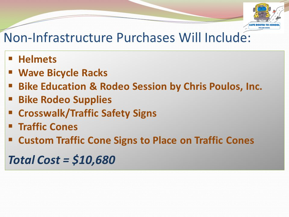 Non-Infrastructure Purchases Will Include:  Helmets  Wave Bicycle Racks  Bike Education & Rodeo Session by Chris Poulos, Inc.