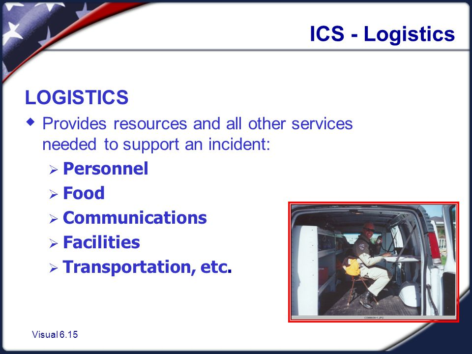 Visual 6.15 ICS - Logistics LOGISTICS  Provides resources and all other services needed to support an incident:  Personnel  Food  Communications  Facilities  Transportation, etc.