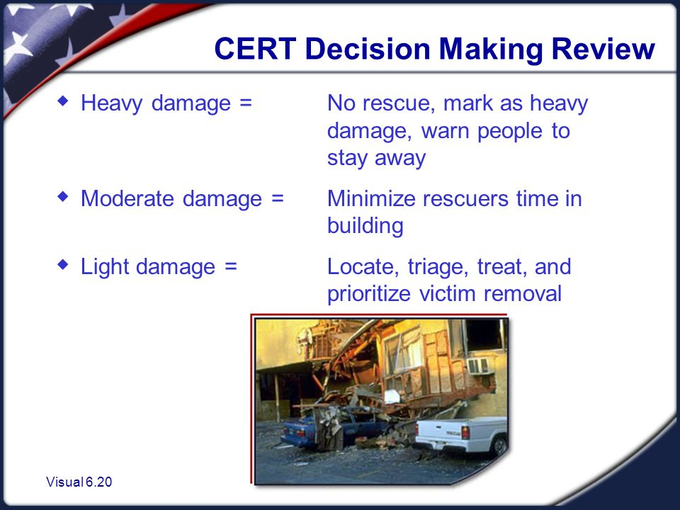 Visual 6.20 CERT Decision Making Review  Heavy damage = No rescue, mark as heavy damage, warn people to stay away  Moderate damage = Minimize rescuers time in building  Light damage = Locate, triage, treat, and prioritize victim removal