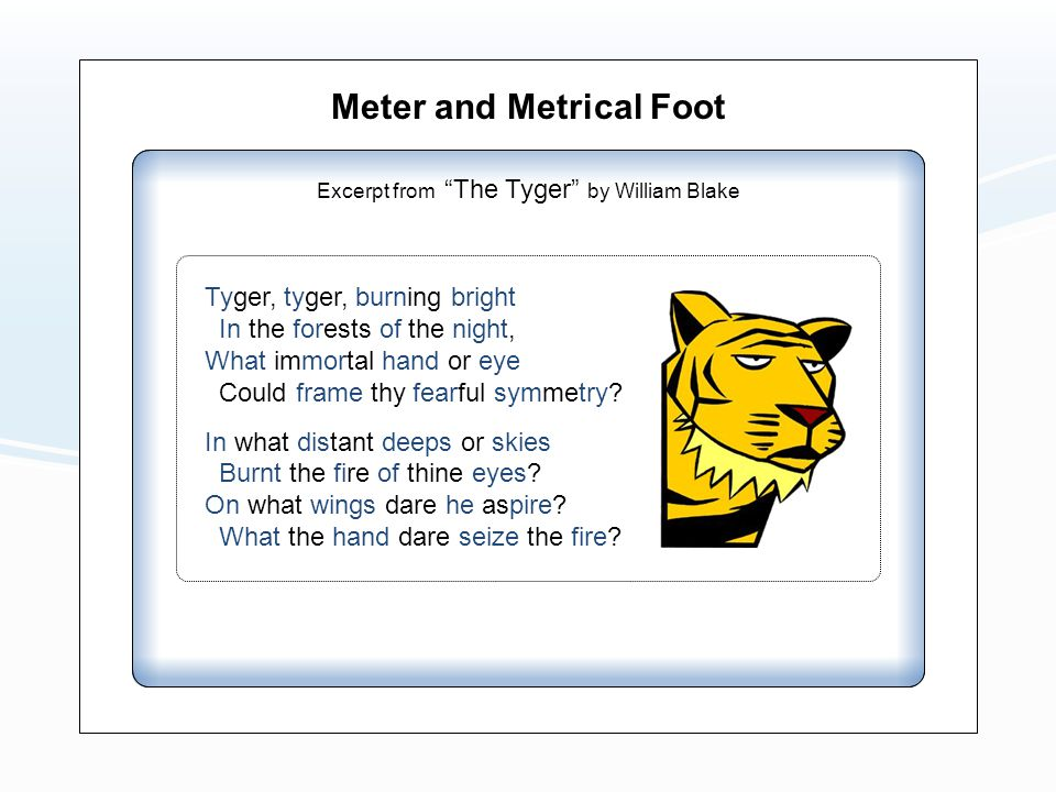 Meter and Metrical Foot Excerpt from The Tyger by William Blake Tyger, tyger, burning bright In the forests of the night, What immortal hand or eye Could frame thy fearful symmetry.