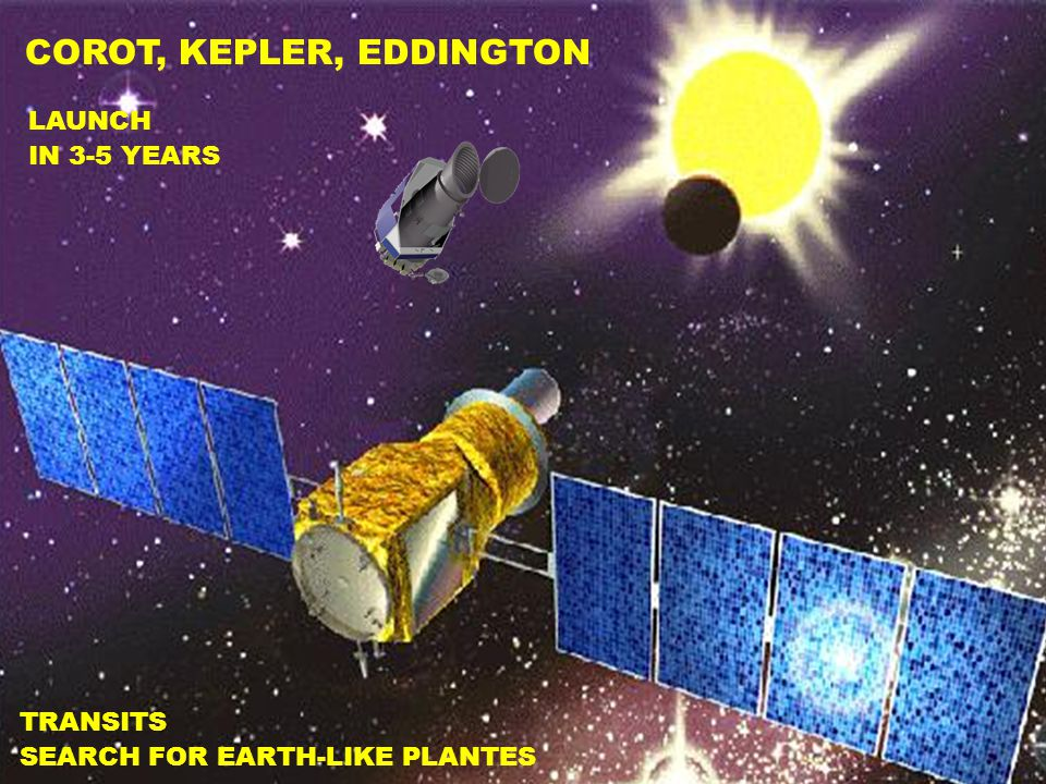 COROT, KEPLER, EDDINGTON LAUNCH IN 3-5 YEARS TRANSITS SEARCH FOR EARTH-LIKE PLANTES