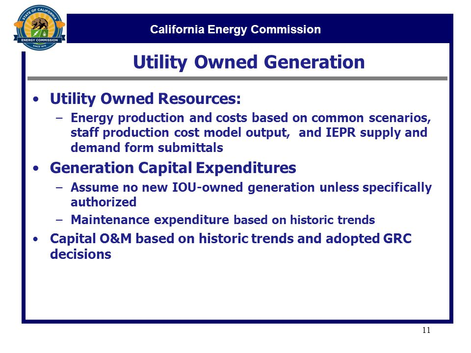 California Energy Commission Utility Owned Generation 11 Utility Owned Resources: –Energy production and costs based on common scenarios, staff production cost model output, and IEPR supply and demand form submittals Generation Capital Expenditures –Assume no new IOU-owned generation unless specifically authorized –Maintenance expenditure based on historic trends Capital O&M based on historic trends and adopted GRC decisions
