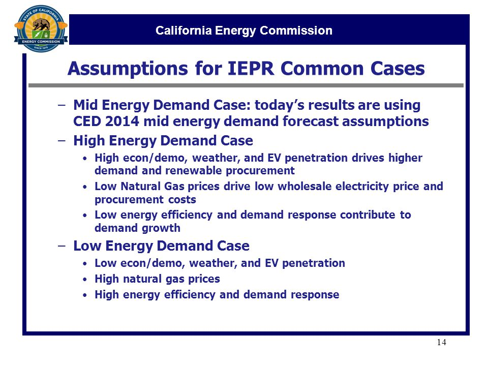 California Energy Commission Assumptions for IEPR Common Cases 14 –Mid Energy Demand Case: today's results are using CED 2014 mid energy demand forecast assumptions –High Energy Demand Case High econ/demo, weather, and EV penetration drives higher demand and renewable procurement Low Natural Gas prices drive low wholesale electricity price and procurement costs Low energy efficiency and demand response contribute to demand growth –Low Energy Demand Case Low econ/demo, weather, and EV penetration High natural gas prices High energy efficiency and demand response
