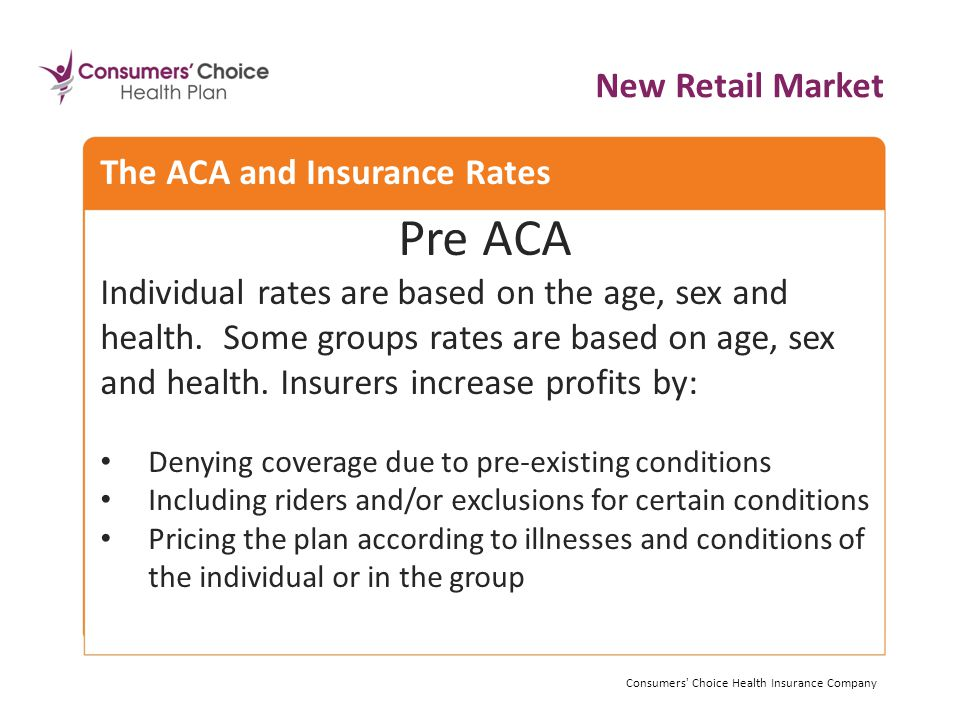 Pre ACA Individual rates are based on the age, sex and health.