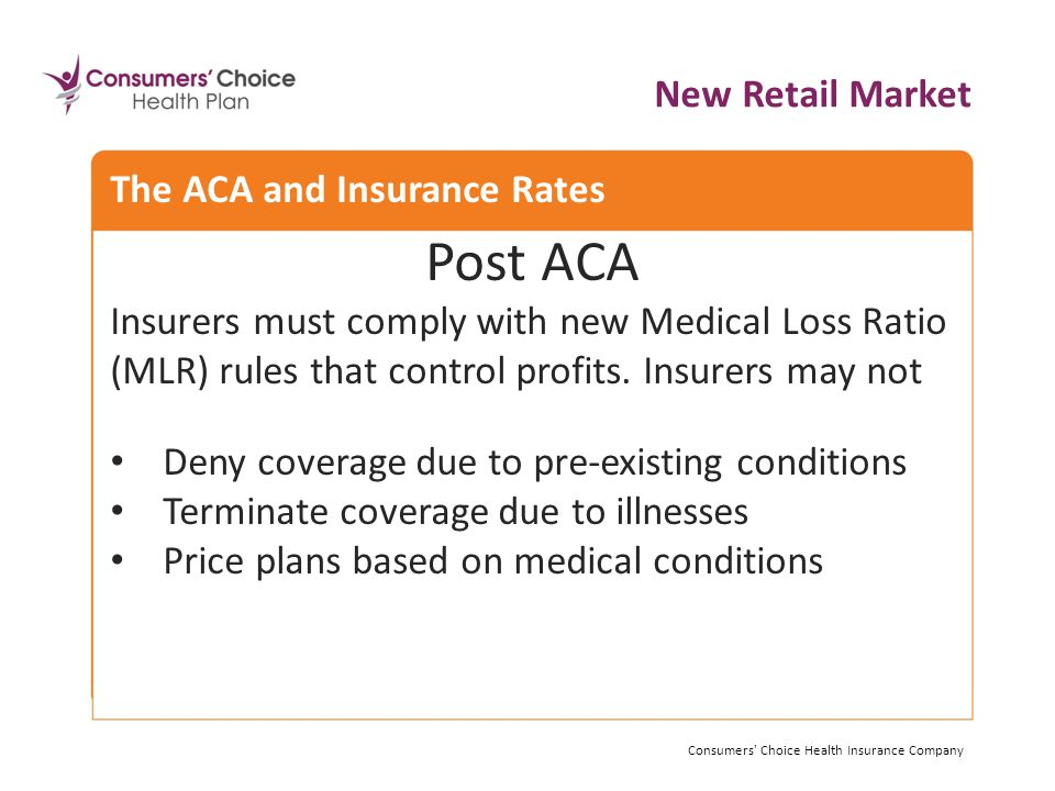 Post ACA Insurers must comply with new Medical Loss Ratio (MLR) rules that control profits.
