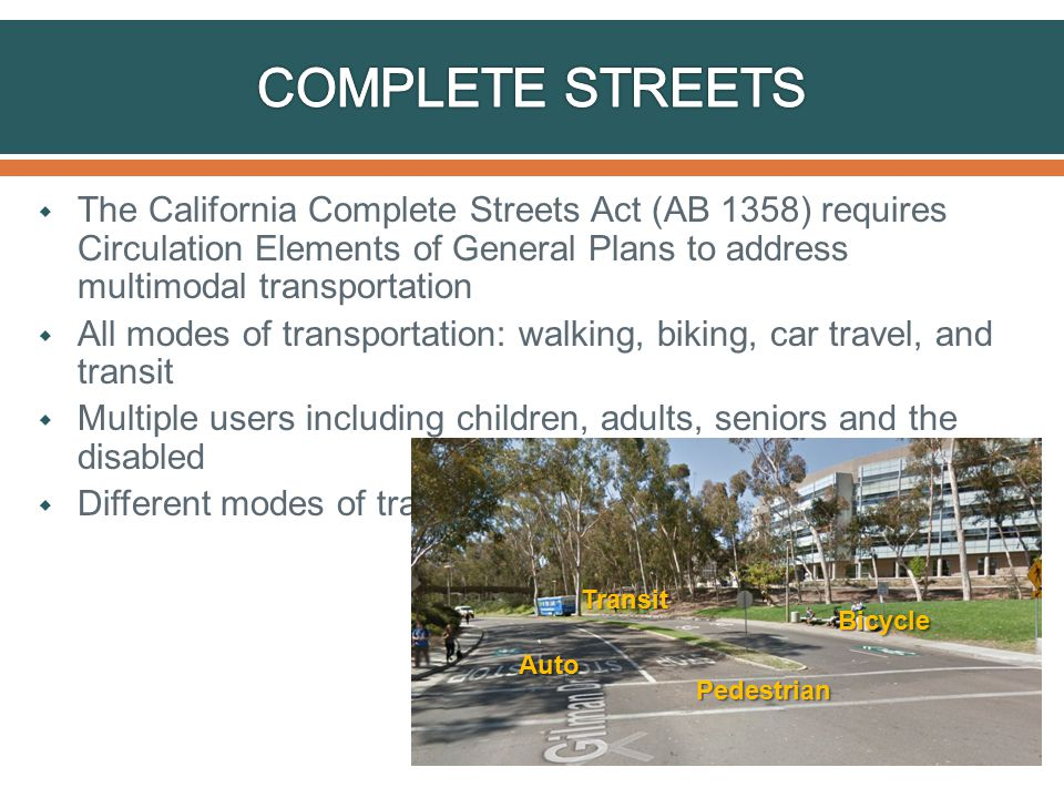  The California Complete Streets Act (AB 1358) requires Circulation Elements of General Plans to address multimodal transportation  All modes of transportation: walking, biking, car travel, and transit  Multiple users including children, adults, seniors and the disabled  Different modes of travel prioritizes for different roadways Transit Bicycle Pedestrian Auto