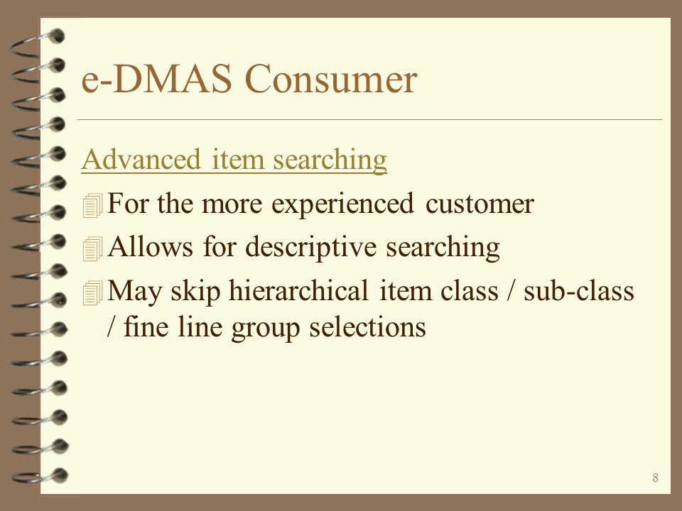 7 e-DMAS Consumer Item searching features...