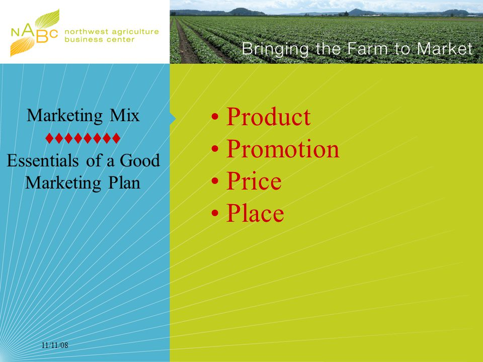 11/11/08 Product Promotion Price Place Marketing Mix ♦♦♦♦♦♦♦♦ Essentials of a Good Marketing Plan
