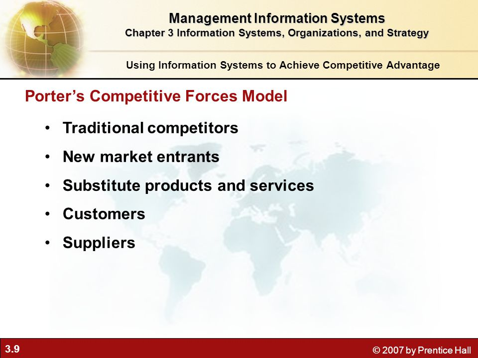 3.9 © 2007 by Prentice Hall Traditional competitors New market entrants Substitute products and services Customers Suppliers Porter's Competitive Forces Model Using Information Systems to Achieve Competitive Advantage Management Information Systems Chapter 3 Information Systems, Organizations, and Strategy
