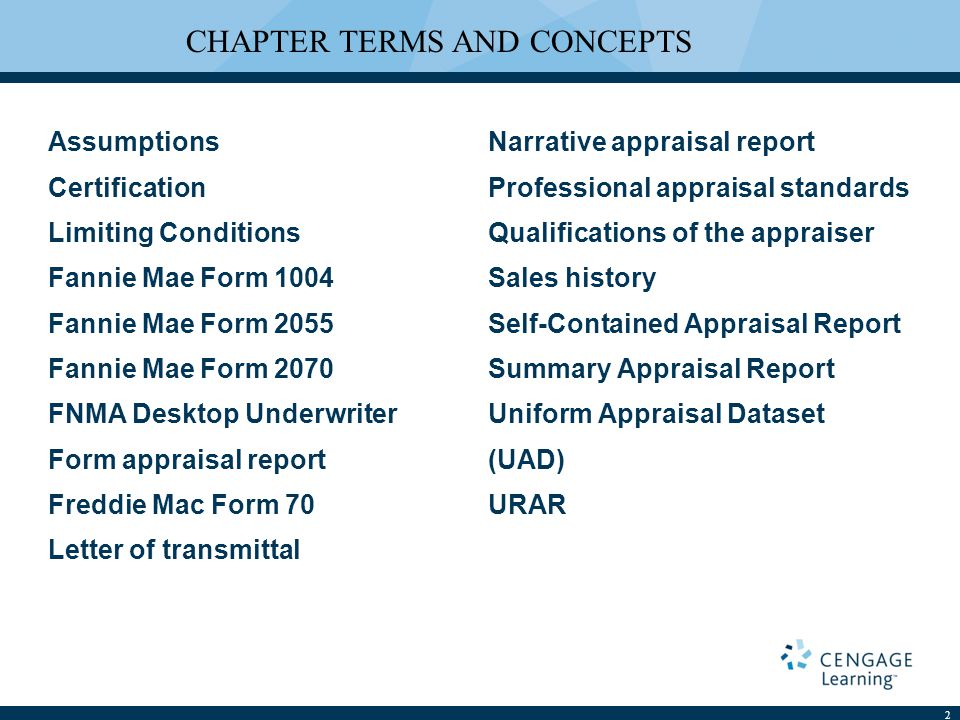 Reporting Appraisal Opinions Chapter 16 Assumptions Certification