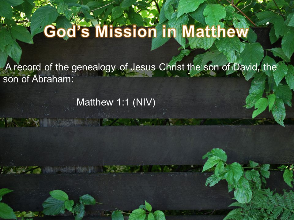 A record of the genealogy of Jesus Christ the son of David, the son of Abraham: Matthew 1:1 (NIV)