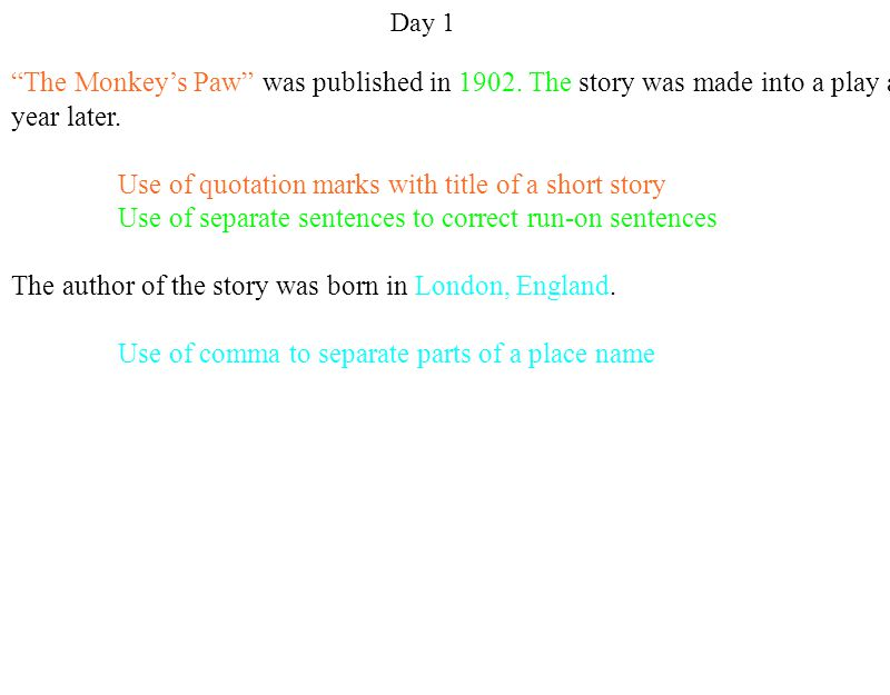 Day 1 The Monkey's Paw was published in The story was made into a play a year later.