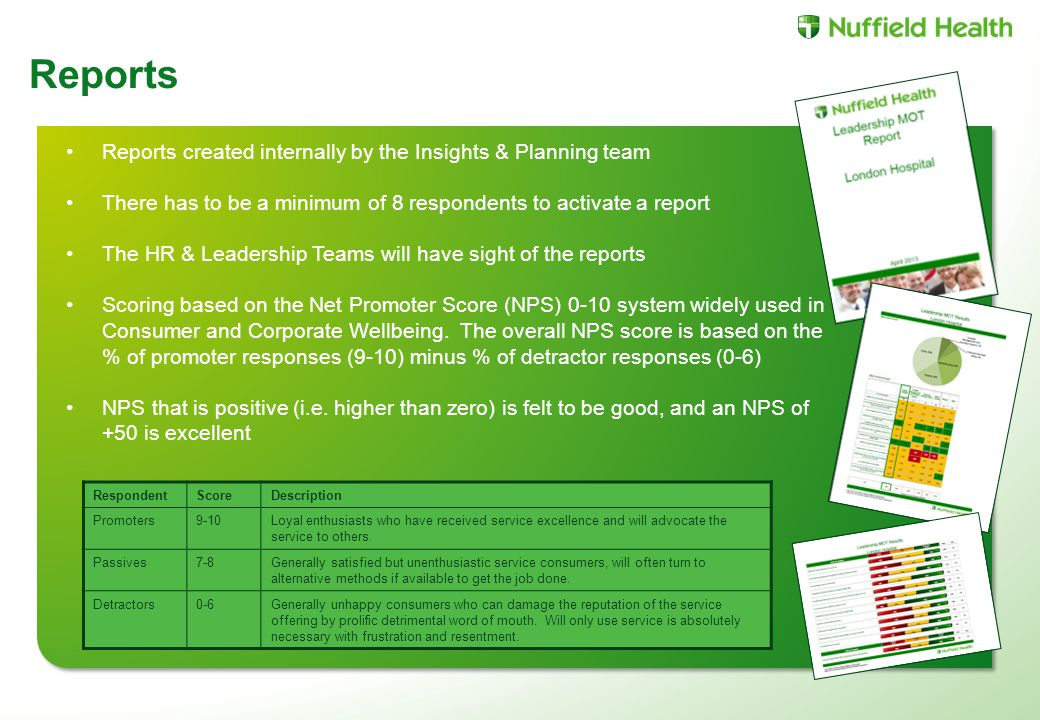 Reports created internally by the Insights & Planning team There has to be a minimum of 8 respondents to activate a report The HR & Leadership Teams will have sight of the reports Scoring based on the Net Promoter Score (NPS) 0-10 system widely used in Consumer and Corporate Wellbeing.
