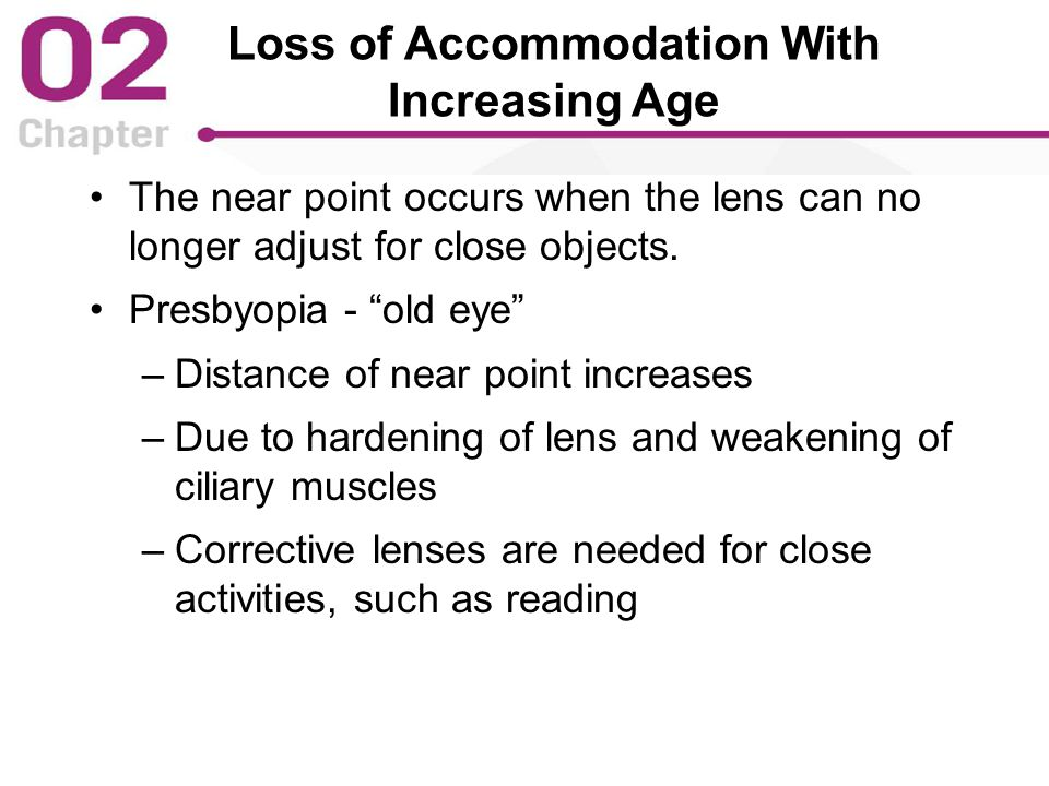 Loss of Accommodation With Increasing Age The near point occurs when the lens can no longer adjust for close objects.