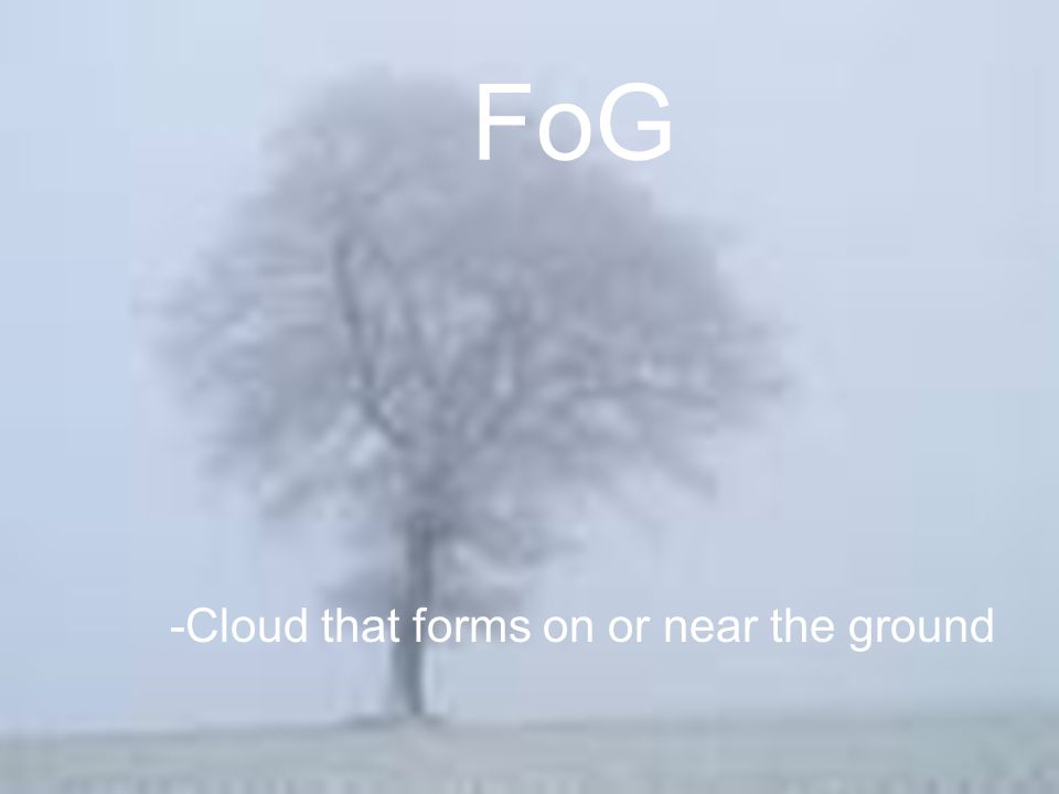 FoG -Cloud that forms on or near the ground
