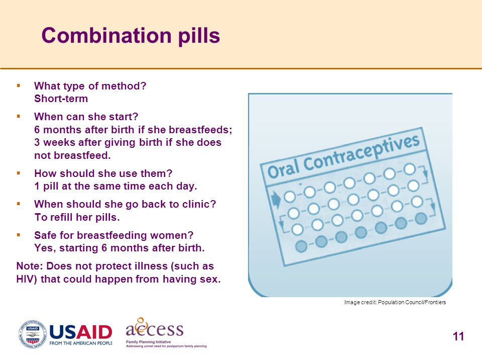 11 Combination pills  What type of method. Short-term  When can she start.