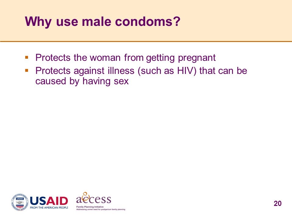 20 Why use male condoms.