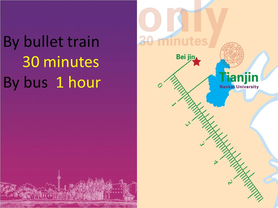 By bullet train 30 minutes By bus 1 hour