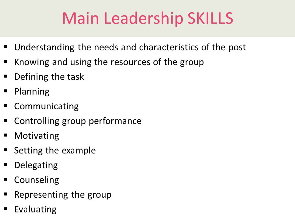 Leadership functions: main skills  Defining the Task