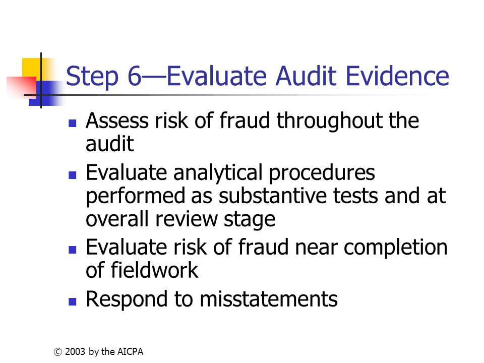 © 2003 by the AICPA Step 6—Evaluate Audit Evidence Assess risk of fraud throughout the audit Evaluate analytical procedures performed as substantive tests and at overall review stage Evaluate risk of fraud near completion of fieldwork Respond to misstatements