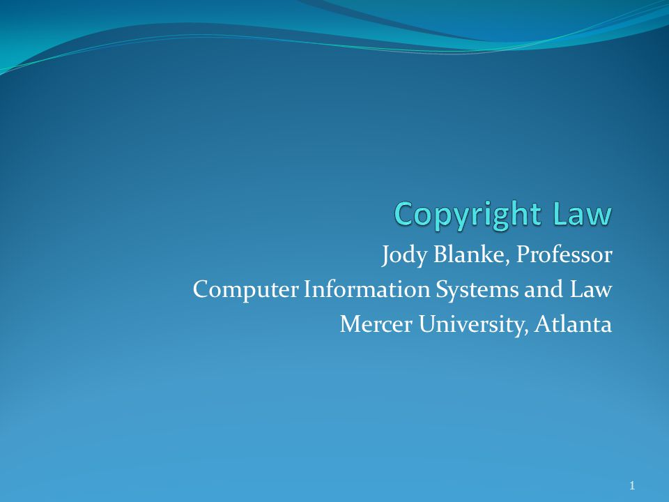 Jody Blanke, Professor Computer Information Systems and Law Mercer University, Atlanta 1