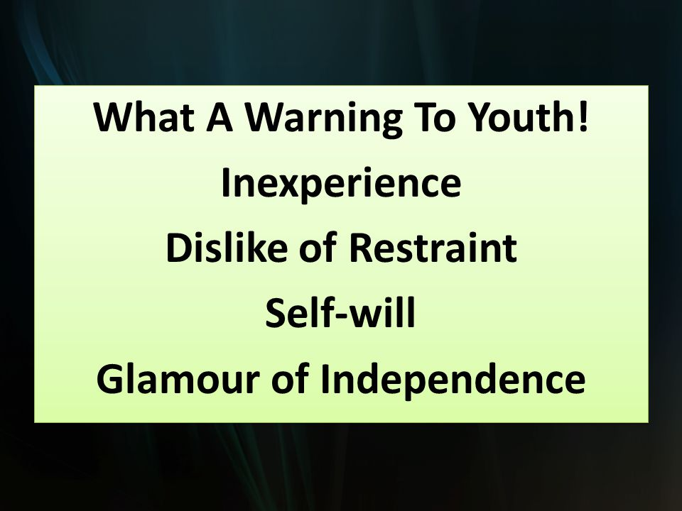 What A Warning To Youth.