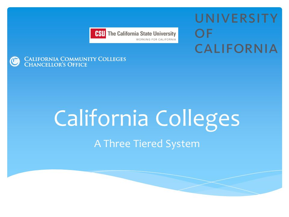 California Colleges A Three Tiered System