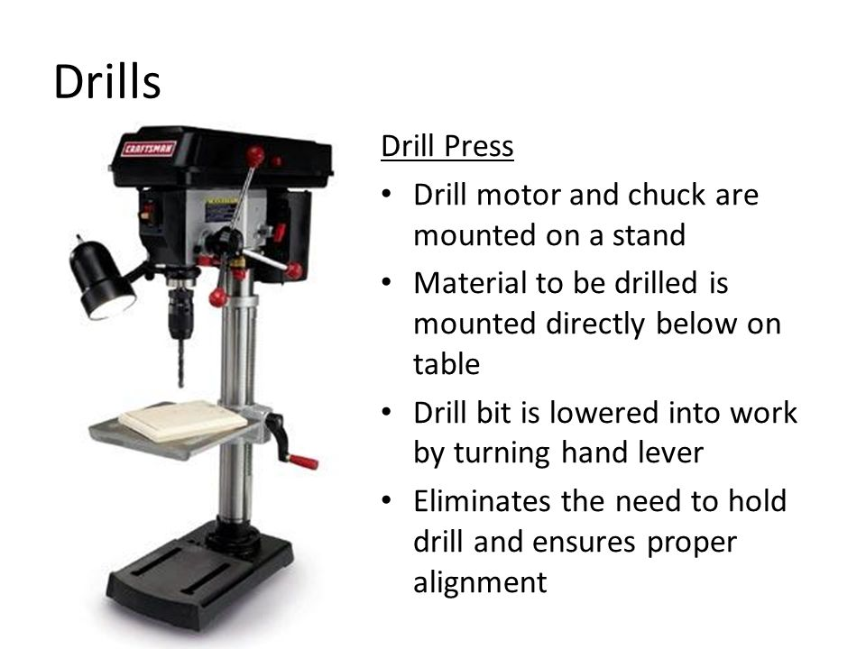 Drills Drill Press Drill motor and chuck are mounted on a stand Material to be drilled is mounted directly below on table Drill bit is lowered into work by turning hand lever Eliminates the need to hold drill and ensures proper alignment